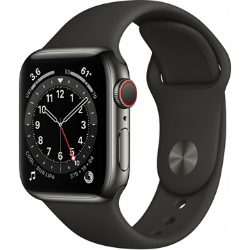 Apple Apple Watch Series 6 GPS + Cellular, 44mm Graphite Stainless Steel Case with Black Sport Band - Regular