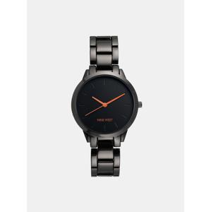 Dámské hodinky s černým kovovým páskem Nine West