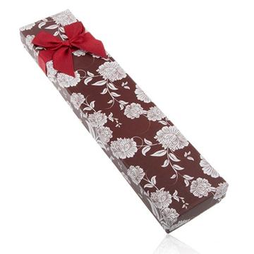 Dárková krabička na náhrdelník nebo náramek, hnědý odstín, bílé květy