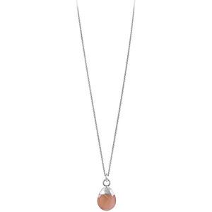 Decadorn Stříbrný náhrdelník s růžovým měsíčním kamenem