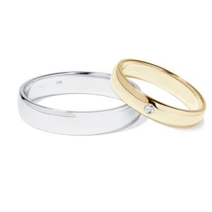 Diamantové zlaté snubní prsteny KLENOTA