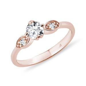 Diamantový prsten z růžového zlata KLENOTA