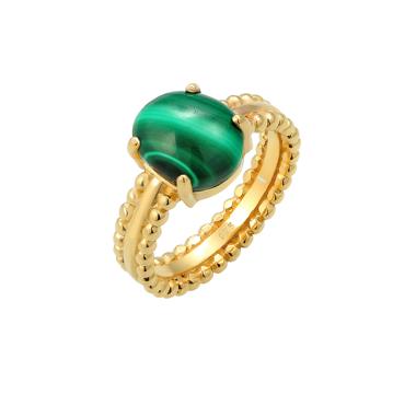 ELLI PREMIUM Prsten zlatá / tmavě zelená