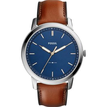FOSSIL Analogové hodinky hnědá / stříbrná / tmavě modrá