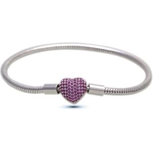 Infinity Love Stříbrný náramek s fialovým srdíčkem HC-374-kompatibilní s Pandora 20 cm