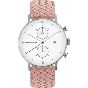 Kapten & Son Analogové hodinky 'Chrono Woven' bílá / stříbrná / růžová