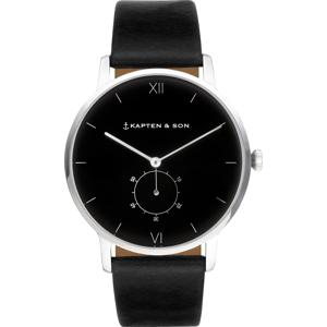 Kapten & Son Analogové hodinky 'Heritage Silver' černá / stříbrná