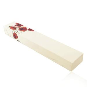 Krabička na náramek, řetízek nebo hodinky - krémová barva, červené vlčí máky