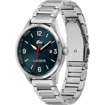 LACOSTE Analogové hodinky stříbrná / noční modrá