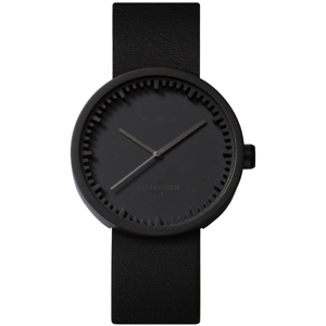LEFF TUBE WATCH D38 / BLACK WITH BLACK LEATHER STRAP