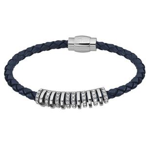 Lotus Style Tmavě modrý kožený náramek s krystaly LS2083-2/2