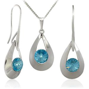 MHM Souprava šperků Karen 2 Aquamarine 34167 (náušnice, řetízek, přívěsek) - SLEVA