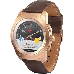 MyKronoz Hybridní hodinky ZeTime Premium Pink Gold/Brown - 44 mm