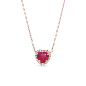 Náhrdelník srdce s rubínem a diamanty v růžovém zlatě KLENOTA