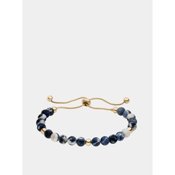 Náramek s korálky v modré a zlaté barvě Tamaris