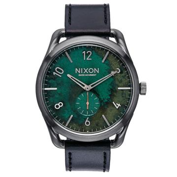 Nixon C45 LEATHER GUNMETALGREENOXYDE analogové sportovní hodinky - šedá