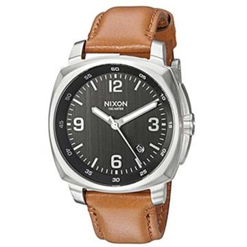 Nixon CHARGER LEATHER BLACKSADDLE analogové sportovní hodinky - černá