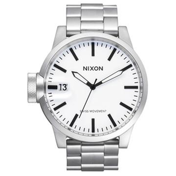 Nixon CHRONICLE SS SANDEDSTEELWHITE analogové sportovní hodinky - šedá