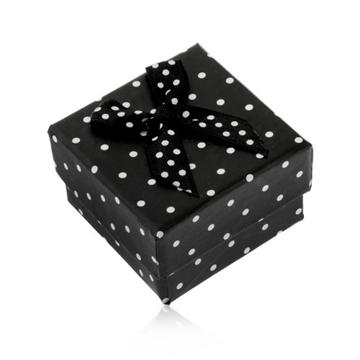 Papírová krabička na prsten nebo náušnice, černá s bílými puntíky