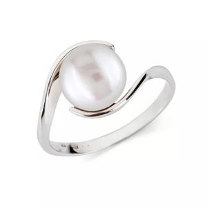 Prsten z bílého zlata s růžovou perlou KLENOTA