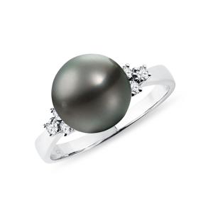 Prsten z bílého zlata s tahitskou perlou a diamanty KLENOTA