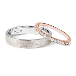 Snubní prsten z bílého a růžového zlata KLENOTA