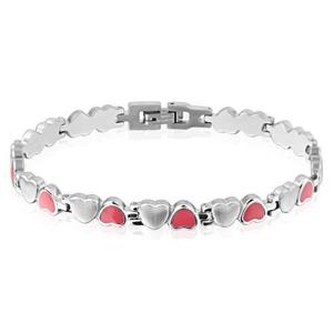 Srdíčkový náramek z oceli - růžové a stříbrné barevné provedení