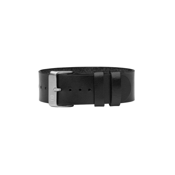 TID Watches Black/Silver Leather Wristband