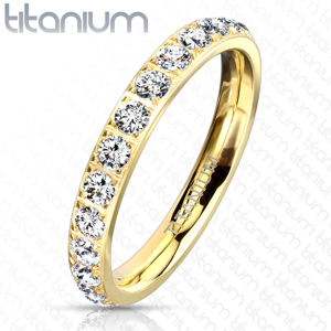 Titanový prsten s úzkými rameny - čiré třpytivé zirkony, drobné tyčinky, 3 mm - Velikost: 50
