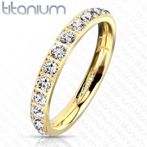 Titanový prsten s úzkými rameny - čiré třpytivé zirkony, drobné tyčinky, 3 mm - Velikost: 55