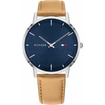 TOMMY HILFIGER Analogové hodinky 'JAMES' tmavě modrá / světle hnědá / stříbrná