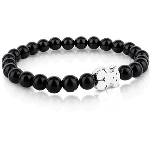 Tous Onyxový náramek se stříbrným medvídkem 315901590-M