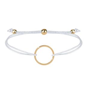 Troli Šňůrkový náramek s kruhem bílá/zlatá TO2475