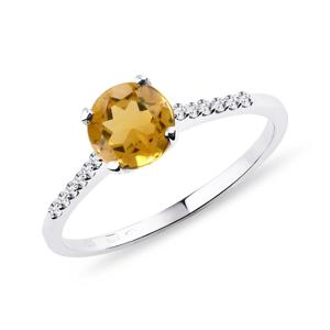 Zlatý diamantový prsten s citrínem KLENOTA