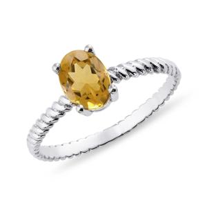 Zlatý prsten s oválným citrínem KLENOTA